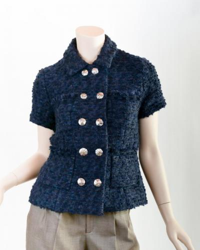 French Jacket in Blue Boucle