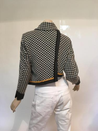 Grey and White Wool Double-knit Asymmetrical Jacket